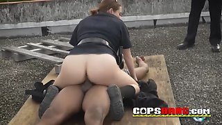 Three nympho cops with big ass devore a big black pecker