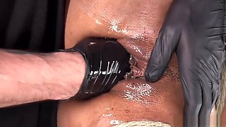 Redhead ebony slave fingered and fisted