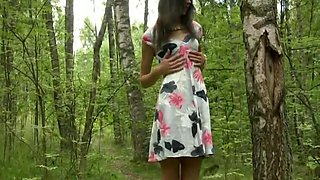 Sensual skinny babe jessica plays in the woods