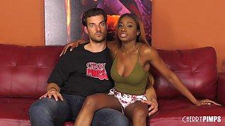 Glam Ebony Girl Pounded On Leather Sofa