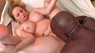 Nasty blonde Aiden Starr tastes a huge black monster cock