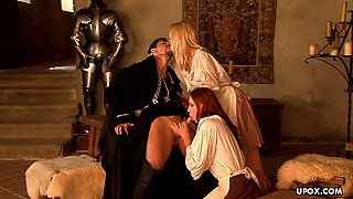 Sexy Medieval maid Carla Cox had a threesome the other day
