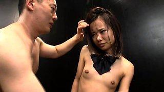 Helpless Japanese teen with tiny boobs enjoys hardcore sex