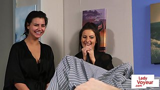 Naughty CFNM flatmates in lingerie for JOI