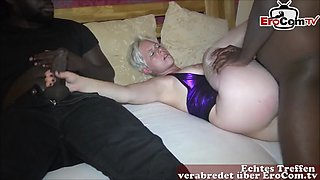 German mom housewife make private threesome mmf with 2 bbc