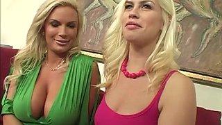Amazing blonde pornstars witn nice asses share stiff cock in FFM