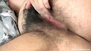 Halmia takes off red outfit and masturbates  - Compilation - WeAreHairy