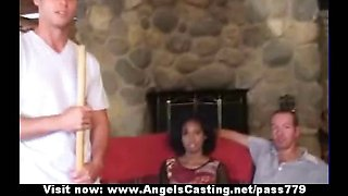 Innocent afro bride in threesome does blowjob for two horny