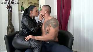 Gorgeous senorita in black leather clothes getting a doggy treatment