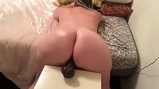 Huge ass pawg alex blair dps two black dildos