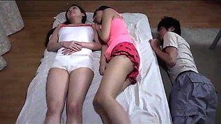Petite Japanese teen getting fucked while her sister sleeps