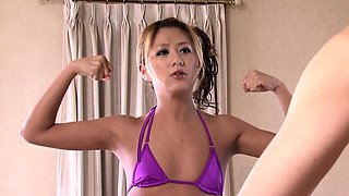 Asian MILF hairy clit teased with strapon