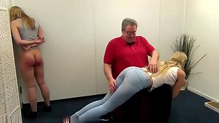 2 blonde hotties take serious and sound spankings
