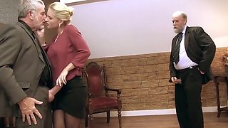 Sexy blond takes on two old men