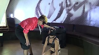 Busty mistress milf Ana crushes her bitch Roberto