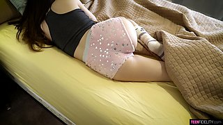 A sleeping beauty gets a pleasant surprise and that cutie loves to ride a dick