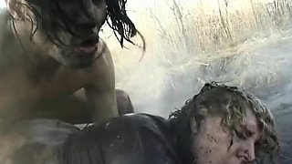 Blonde BBW cougar Samantha takes a wild pounding in the mud from a young stud