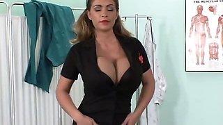 Nurse Denise is a busty dildo lover