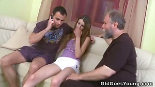 Bearded old man loves to suck on Ninas nipples until she