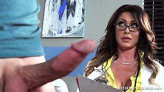 Buxom raven haired MILF nurse swallows stiff sausage through fancy hole