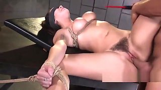 Hairy pussy slave rough fucked in bondage