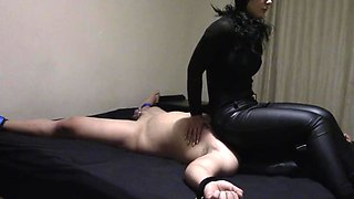 Very hard smothering from Mistress Tiffany, with a bit of trampling.