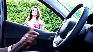 Cute amateur teen watches a hung guy jerking off in the car