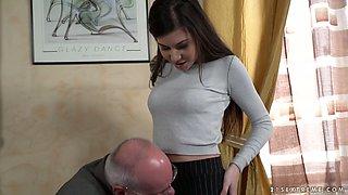 Buxom slutty Turkish hottie Anya Krey lures older man to ride his cock