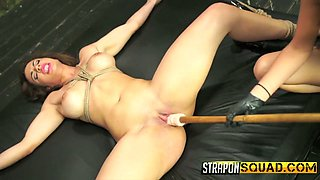 Kinky mistress dildo fucks and finger fucks twat of crucified bitch Kylie Rogue