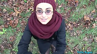 Afghan beauty gives forest blowjob