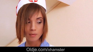 Hottie nurse moaning as fucking sick grandpa pussy medicine