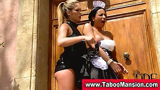 Lesbo domina toys bound maids ass outdoors and tweaks her