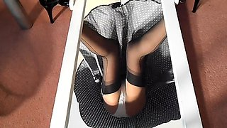 Slender amateur babe in stockings and white panties upskirt