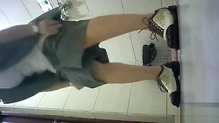 cute china girl go toilet
