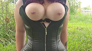 Big Tits Alt Girl Rides Her Dildo In The Park