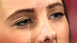 Foxy Looker Gets Jizz Load On Her Face Swallowing All The Lo