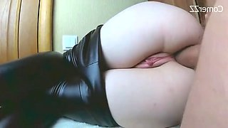 Two cum in her beautiful ass amateur anal creampie