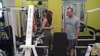 Fit babe fucks a stranger in the gym for a wad of cash