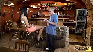 Daddy4k. daddy invites son and his gf to the bar and fucks