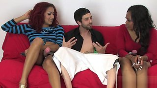 Teenies poke studs butt hole with huge strapons and ejaculate jism