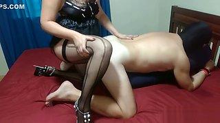 Femdom strapon. Mistress Lusinda hard pegging slave-husband