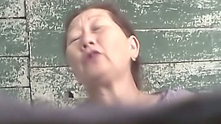 Hairy pussy of a mature Asian lady in the public toilet room