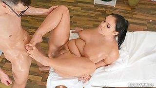 Aroused Asian mom feels younger man's huge dong working her so well
