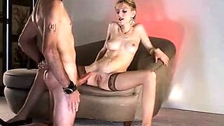 Dominant blonde in stockings teases and pleases her slave