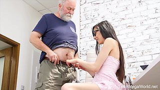 Naughty nerdy girl Ashely Ocean is punished by older pervert doggy