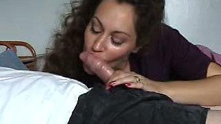 Brunette Milf pretty tongue tease BJ to oral CS