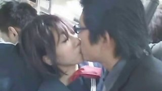 Asian Schoolgirl Handjob in a Bus!