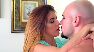 Petite redhead penetrated with stepfather's massive bulge