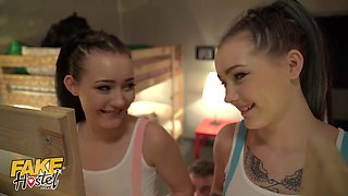 18 Year Old Real Teen Sisters Have Threesome With Lucky Guy