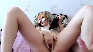 Petite blonde camgirl gets her ass stuffed with hard meat